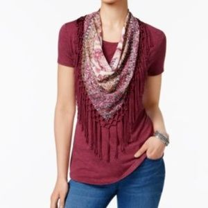 Style&Co Magenta Scoop Neck-T shirt w Scarf